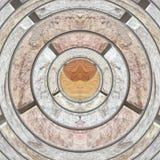 Abstraktes Kreisbraun hölzern und Backsteinmauerhintergrund Stockfotografie