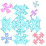 Abstraktes Kreuz, Schneeflocke von den Dreiecken Schönes Set lizenzfreie abbildung