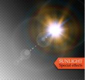 Abstraktes Lichteffektdesign der Sonneneruption der Linsengoldfront transparentes spezielles