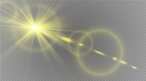 Abstraktes Lichteffektdesign der Sonneneruption der Linsengoldfront transparentes spezielles Stockbild