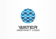 Abstraktes Logo für Unternehmen Natur, Ozean, eco, Wissenschaft, Gesundheitswesen Firmenzeichenidee Ökologie, Blau, Meer, Wasser stock abbildung