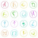 Abstraktes Logo Icons Set Thin Line-einfaches buntes Lizenzfreie Stockfotos