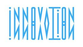 Abstraktes Logo von der Wortinnovation in einem direkten und widergespiegelt vektor abbildung