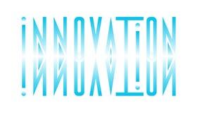 Abstraktes Logo von der Wortinnovation in einem direkten und widergespiegelt stock abbildung