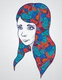 Abstraktes Mädchen portrair mit Blumenverzierung. lizenzfreie abbildung