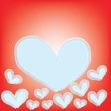 Abstraktes magisches weißes Herz auf rotem Hintergrund Stockfotografie