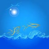 Abstraktes Meer und Fische mit geschrieenem Hintergrund Vektor Abbildung