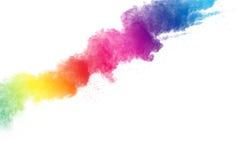 Abstraktes mehrfarbiges Pulver splatted auf weißem Hintergrund Lizenzfreie Stockfotos
