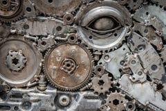 abstraktes Metall für Hintergrund durch mechanische Ratschenbolzen und n Stockfotografie