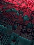 Abstraktes metallisches Muster Futuristischer techno Hintergrund belichtet durch farbige Lichter Illustration Digital 3d vektor abbildung