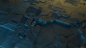 Abstraktes metallisches Muster Futuristischer techno Hintergrund Illustration Digital 3d Lizenzfreies Stockfoto