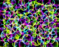 Abstraktes Muster des Regenbogens Geometrischer Druck bestanden aus bunten Kreisen auf schwarzem Hintergrund Struktur in einer bl Stockbild