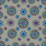 Abstraktes Muster mit Blumen und Sternen Stockfotografie