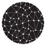 Abstraktes Muster von den schwarzen geometrischen Elementen gruppiert in einem Kreis Stockfoto