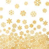 Abstraktes Muster von fallenden goldenen Schneeflocken Stockfotografie