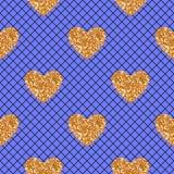 Abstraktes nahtloses blaues Muster des Vektors mit schwarzen Fischnetzstrumpfhosen und Goldfunkelnherzen Lizenzfreie Abbildung
