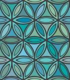 Abstraktes nahtloses blaues und grünes Blumenmuster Stockfotografie