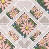 Abstraktes nahtloses Blumen des Patchworks, Musterbeschaffenheits-Lichthintergrund mit dekorativen Elementen Lizenzfreies Stockbild