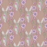 Abstraktes nahtloses Blumen des Patchworks, Musterbeschaffenheits-Lichthintergrund mit dekorativen Elementen Stockbilder