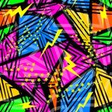 Abstraktes nahtloses chaotisches Muster mit städtischen geometrischen Elementdreiecken Schmutzneonbeschaffenheitshintergrund stockfoto