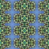 Abstraktes nahtloses dekoratives kaleidoskopisches Mosaikmuster des blauen Grüns Lizenzfreie Stockfotos