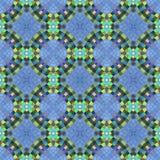 Abstraktes nahtloses dekoratives kaleidoskopisches Mosaikmuster des blauen Grüns Stockbilder
