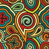Abstraktes nahtloses geometrisches Muster: Mischung von Streifen und von Formen im Retrostil Lizenzfreies Stockbild