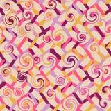 Abstraktes nahtloses gestreiftes Muster mit Strudeln Vektor illustrati Lizenzfreie Stockfotografie