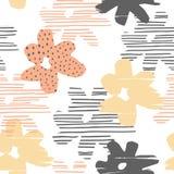 Abstraktes nahtloses mit Blumenmuster mit modische Hand gezeichneten Beschaffenheiten Lizenzfreie Stockfotos