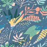 Abstraktes nahtloses mit Blumenmuster mit modische Hand gezeichneten Beschaffenheiten Stockbild