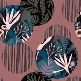 Abstraktes nahtloses mit Blumenmuster mit modische Hand gezeichneten Beschaffenheiten Stockfoto