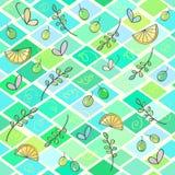 Abstraktes nahtloses Muster der Raute mit Blättern und Schmetterlingen stock abbildung