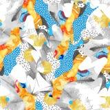 Abstraktes nahtloses Muster des Herbstblattes gefüllt mit flüssigen Formen, minimales Schmutzelement, Gekritzel stock abbildung