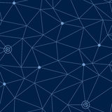 Abstraktes nahtloses Muster des kosmischen Raumes mit angeredetem Netz von Wegen und Sterne oder Weise zeigt, Illustration des Ve Lizenzfreie Stockbilder