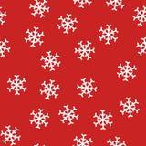 Abstraktes nahtloses Muster des neuen Jahres mit Schneeflocken auf rotem Hintergrund Stockfotos