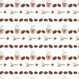 Abstraktes nahtloses Muster im Retrostil mit Kaffeebohne, Schale, Becher, Pfeil Stockbild
