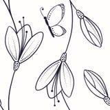 Abstraktes nahtloses Muster mit Blumen und Schmetterling in der Skizzenart Stockfoto