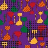 Abstraktes nahtloses Muster mit bunten Katzen Stockfoto