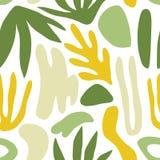 Abstraktes nahtloses Muster mit grünen Formen oder Kennzeichen und exotische Blätter auf weißem Hintergrund Moderner bunter Vekto stock abbildung