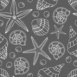 Abstraktes nahtloses Muster mit Hand gezeichneten Muscheln, Perlen und Starfish Stockbilder