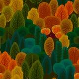 Abstraktes nahtloses Muster mit HerbstBäumen des Waldes, Büsche, Gras, Laub lizenzfreie abbildung