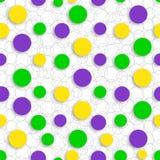 Abstraktes nahtloses Muster mit Kreiskarnevalsfarben von Mardi Gras Hintergrund passend für Karnevalskarten, Netz, Druck Stockbilder