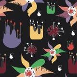 Abstraktes nahtloses Muster mit merkwürdigen Blumen. lizenzfreie abbildung