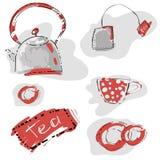 Abstraktes nahtloses Muster mit Teekanne und Schale. lizenzfreie abbildung