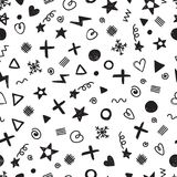 Abstraktes nahtloses Muster mit verschiedenen Gestaltungselementen abstrakter Hintergrund Zeit, für das schöne, lächelnde junge A Stockfotografie