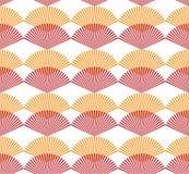 Abstraktes nahtloses Muster rotes und orange Fanform Japaner styl vektor abbildung