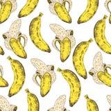 Abstraktes nahtloses Muster, Tapete, Hintergrund, Hintergrund Gelb mit weiße Hand gezeichneter Banane Vektorskizze, tropisch Stockfotos