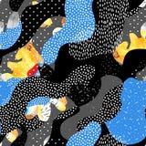 Abstraktes nahtloses Muster von den flüssigen Formen, geometrisch, minimal, Schmutzelement, Gekritzel, Beschaffenheiten lizenzfreie abbildung
