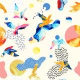 Abstraktes nahtloses Muster von Fliegenvogelschattenbildern, flüssige Formen, geometrisch, minimal, Schmutz, Gekritzel, Beschaffe stock abbildung