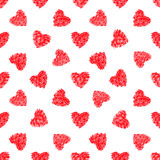 Abstraktes nahtloses Muster von roten Herzen Lizenzfreies Stockbild